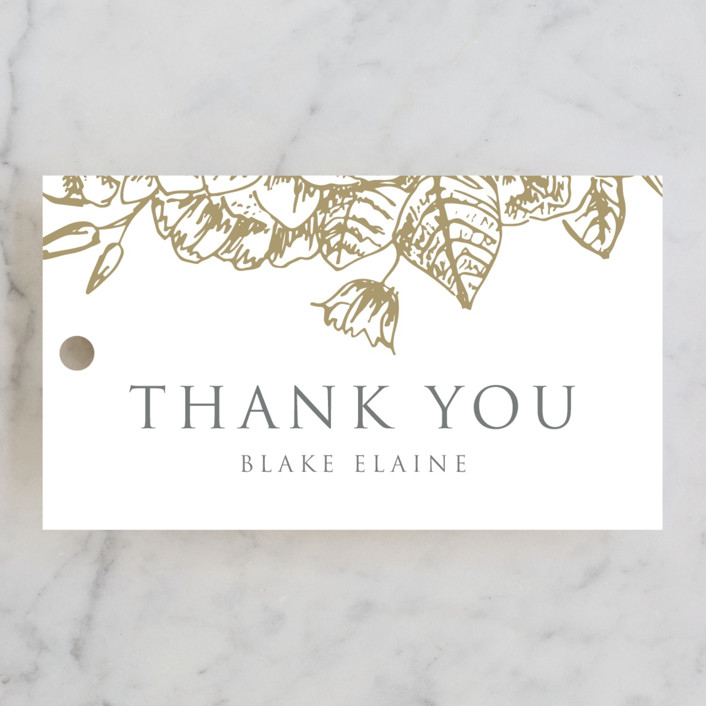 """""""Gilded Wildflowers"""" - Rehearsal Dinner Favor Tags in Cloudy by Smudge Design."""