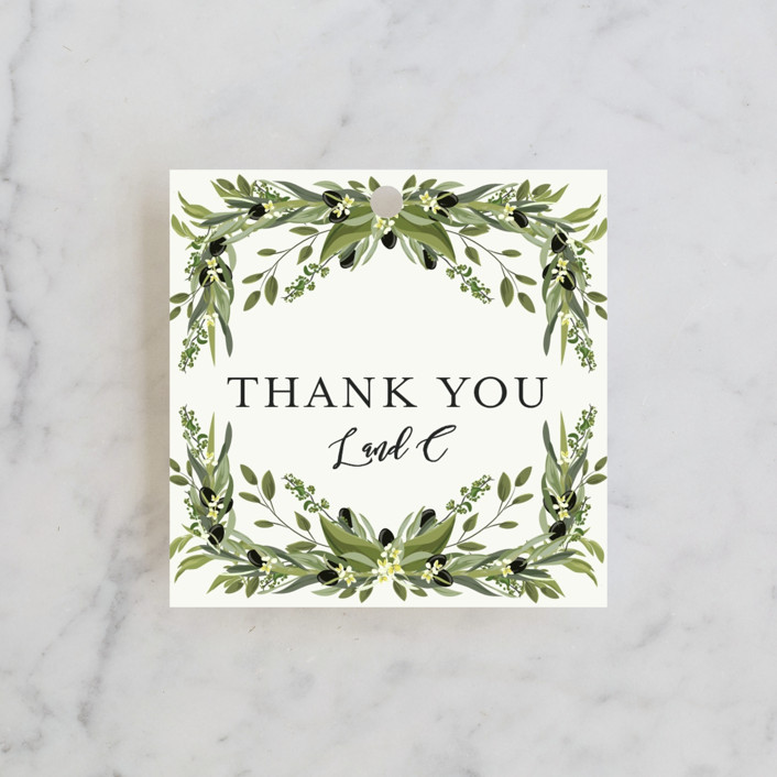 """""""Olive Vine"""" - Rehearsal Dinner Favor Tags in Linen by Susan Moyal."""