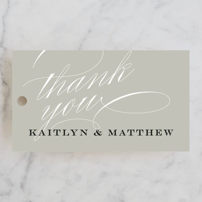 """""""Flourished Affair"""" - Rehearsal Dinner Favor Tags in Golden by Jessica Williams."""