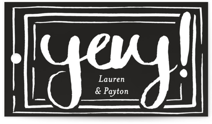 This is a black, gold Rehearsal Dinner Favor Tags by Shiny Penny Studio called Dinner Toasts and Dessert with Standard printing on Signature in Tag Flat Card format. This rehearsal dinner invitation features bold hand lettering announcing the events for ...