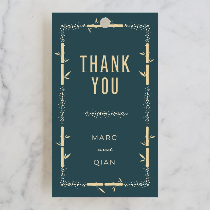 """""""Bamboo Sparkles"""" - Rehearsal Dinner Favor Tags in Peacock by fatfatin."""