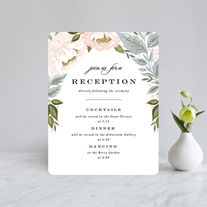 """""""Peony Floral Frame"""" - Reception Cards in Cornflower by Alethea and Ruth."""
