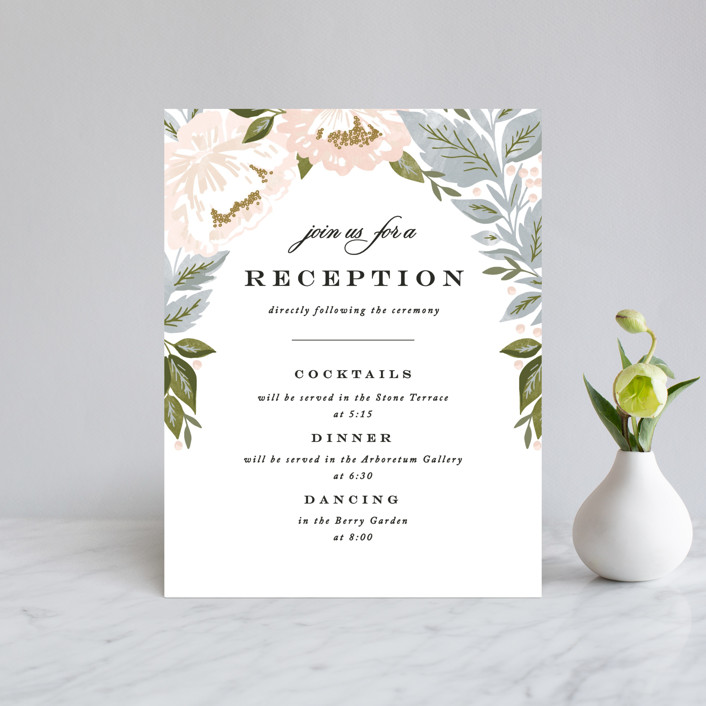 """Peony Floral Frame"" - Reception Cards in Cornflower by Alethea and Ruth."
