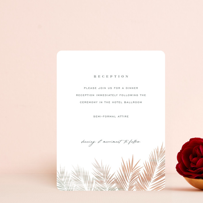 """""""Painted Leaves"""" - Bohemian Reception Cards in Coconut by Owl and Toad."""