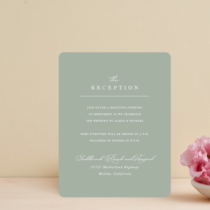"""Initial"" - Reception Cards in Sage by Jennifer Postorino."