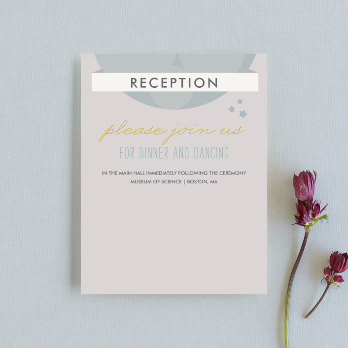 """""""Infinity & Beyond"""" - Whimsical & Funny Reception Cards in Slate by Dawn Jasper."""