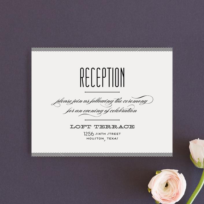 """Twine"" - Elegant, Formal Reception Cards in Black by Lauren Chism."