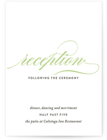 This is a portrait bold typographic, traditional, green Reception Cards by Olivia Raufman called Cordial Flourish with Standard printing on Signature in Card Flat Card format. A traditional wedding invitation with modern flair, featuring bold script and a clean layout. ...