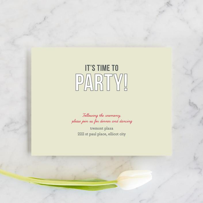 """""""Invitation-O-Matic"""" - Reception Cards in Khaki by Erin Pescetto."""