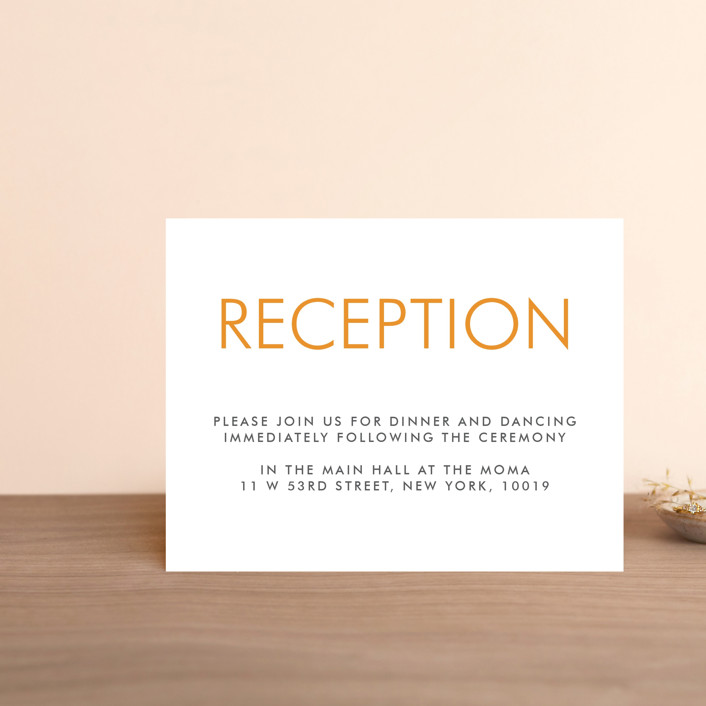 """Minimalist Display"" - Reception Cards in Orange by Coco and Ellie."