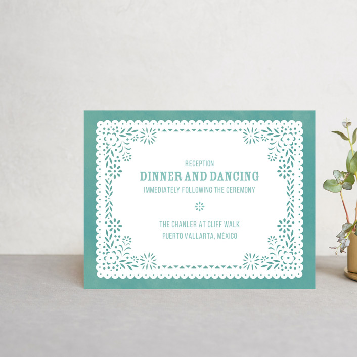 """Fiesta Folk Art"" - Reception Cards in Lagoon by root beer float."