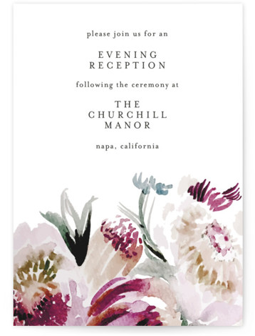 This is a botanical, rustic, purple, colorful Reception Cards by Phrosne Ras called romantic bouquet with Standard printing on Signature in Card Flat Card format. Original watercolor flowers in purples and greens