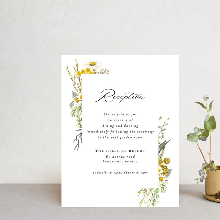 """""""Organic Florals"""" - Reception Cards in Honey by Susan Moyal."""