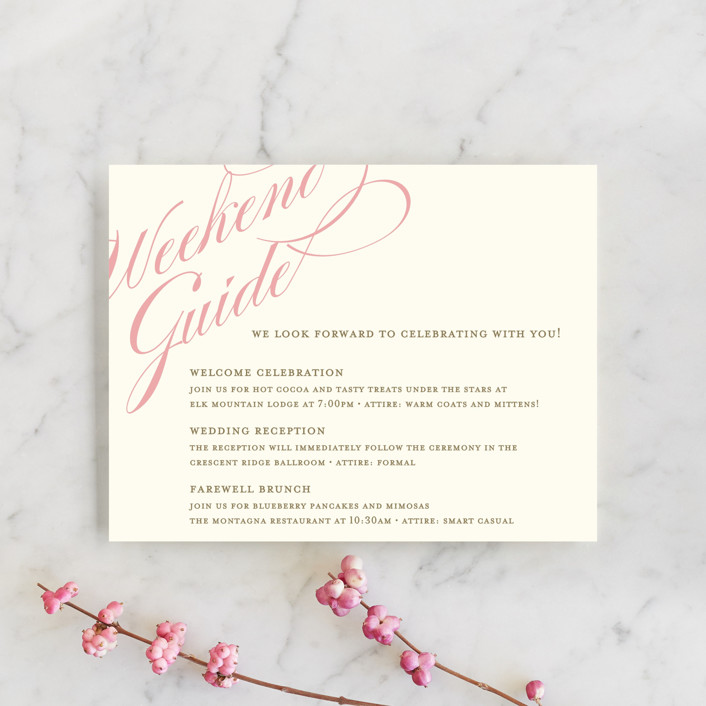 """Winter Flourish"" - Elegant, Formal Reception Cards in Petal Pink by annie clark."
