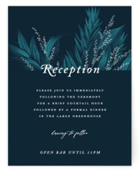 This is a blue reception card by GeekInk Design called Moonlit Garden with standard printing on signature in standard.