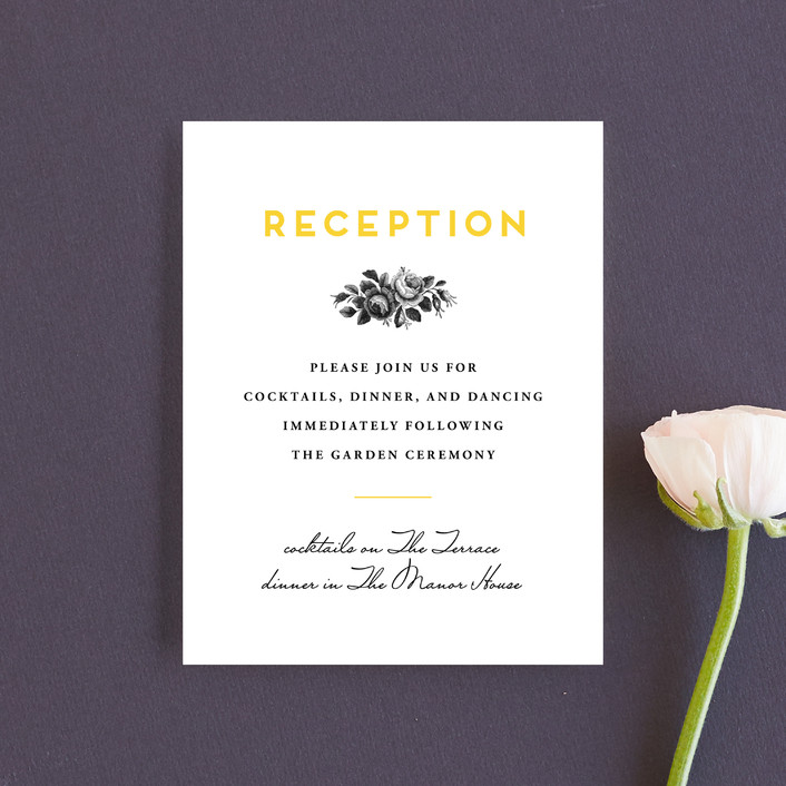 """Bouquet Monogram"" - Reception Cards in Sunflower by Chryssi Tsoupanarias."