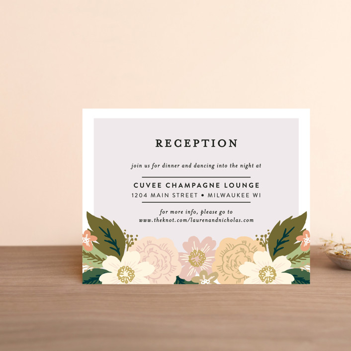 """Classic Floral"" - Floral & Botanical Reception Cards in Spring Blush by Alethea and Ruth."