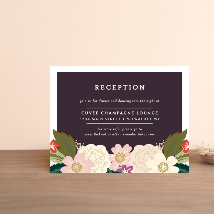 """""""Classic Floral"""" - Floral & Botanical Reception Cards in Spring Blush by Alethea and Ruth."""