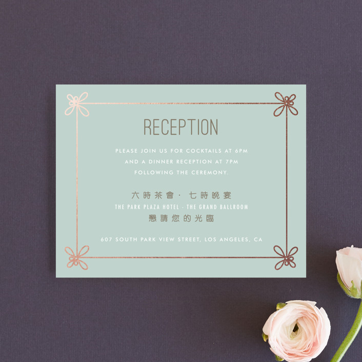 """Double Knotted Happiness"" - Modern Reception Cards in Dusk by Ling Wang."
