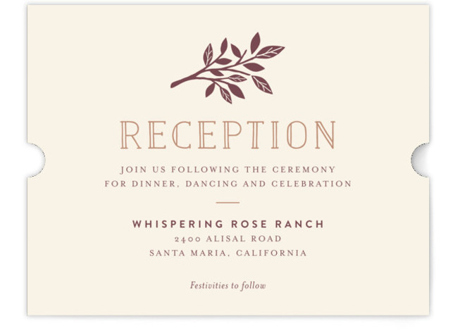 This is a landscape monogrammed, rustic, brown Reception Cards by Griffinbell Paper Co. called Enchanted with Standard printing on Signature in Card Flat Card format. A simple, graphic sweetheart tree in rose gold is the focal point of this classic ...