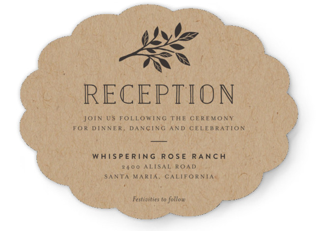 This is a landscape monogrammed, rustic, grey Reception Cards by Griffinbell Paper Co. called Enchanted with Standard printing on Signature in Card Flat Card format. A simple, graphic sweetheart tree in rose gold is the focal point of this classic ...