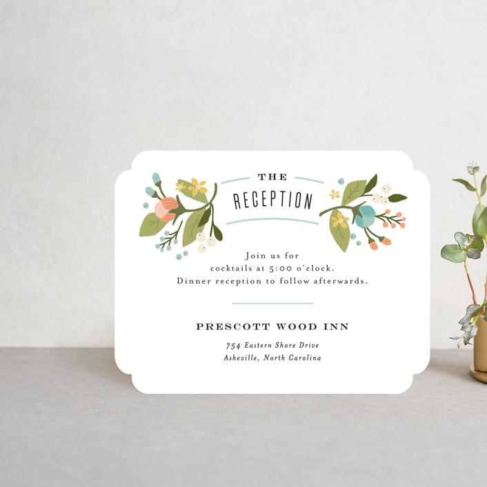 """""""Floral Ampersand"""" - Reception Cards in Sea Breeze by Jennifer Wick."""