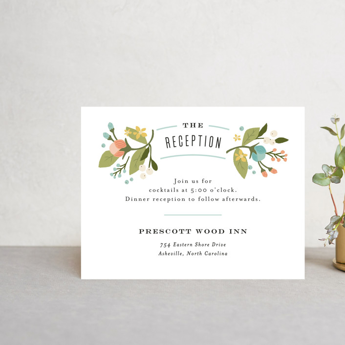 """Floral Ampersand"" - Rustic Reception Cards in Sea Breeze by Jennifer Wick."