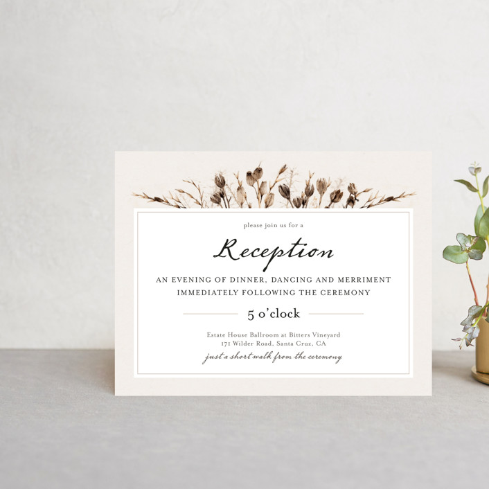 """""""Gone To Seed"""" - Bohemian Reception Cards in Taupe by Honeybunch Studio."""