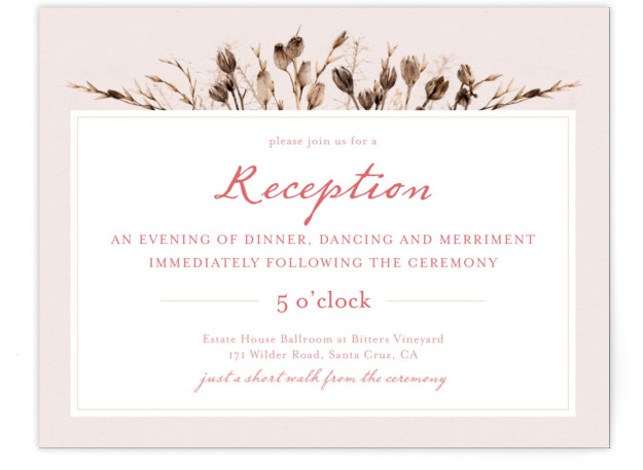 This is a landscape botanical, rustic, pink Reception Cards by Honeybunch Studio called Gone To Seed with Standard printing on Signature in Card Flat Card format. Make a statement with this unique wedding invitation inspired by classic botanical illustration.