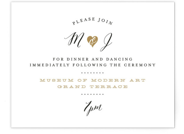 This is a landscape bold and typographic, whimsical, brown Reception Cards by Sarah Curry called Heartbeat with Standard printing on Signature in Card Flat Card format. This invitation features the couple's names in elegant calligraphy script and a sweet heart ...