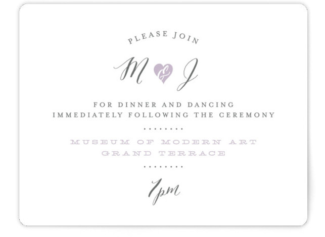 This is a landscape bold and typographic, whimsical, purple Reception Cards by Sarah Curry called Heartbeat with Standard printing on Signature in Card Flat Card format. This invitation features the couple's names in elegant calligraphy script and a sweet heart ...