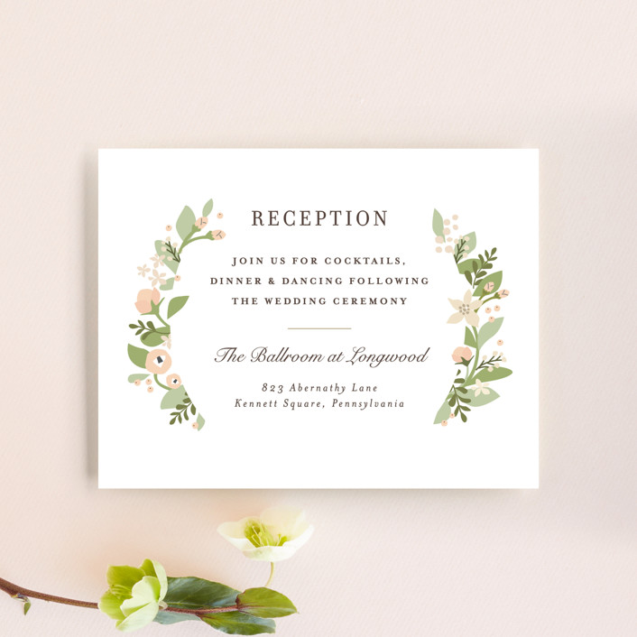 """Longwood Estates"" - Reception Cards in Peach Sorbet by Jennifer Wick."
