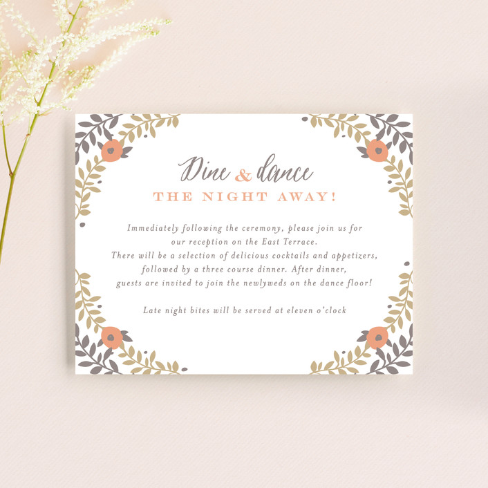 """Lover's Floral Frame"" - Reception Cards in Coral by Andrea Snaza."