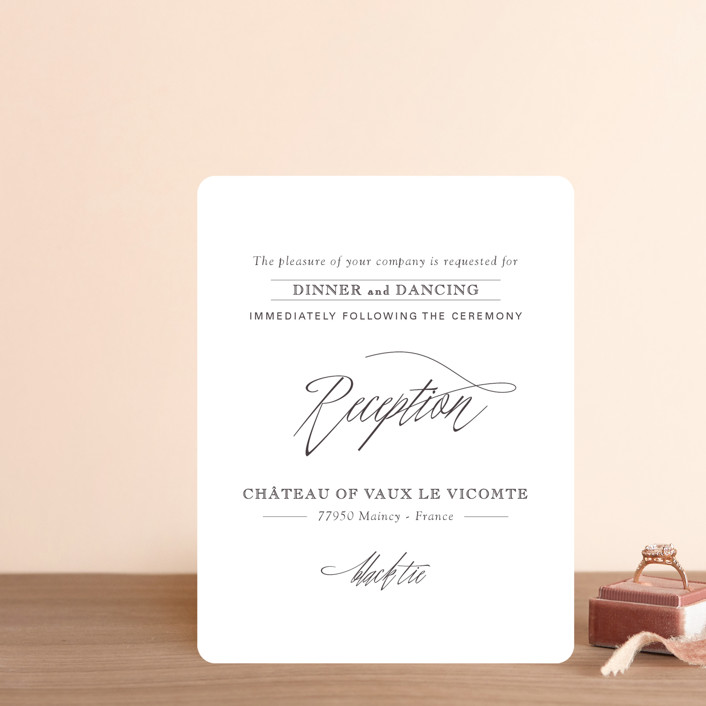 """""""Opulence"""" - Reception Cards in Snow Caps by Design Lotus."""