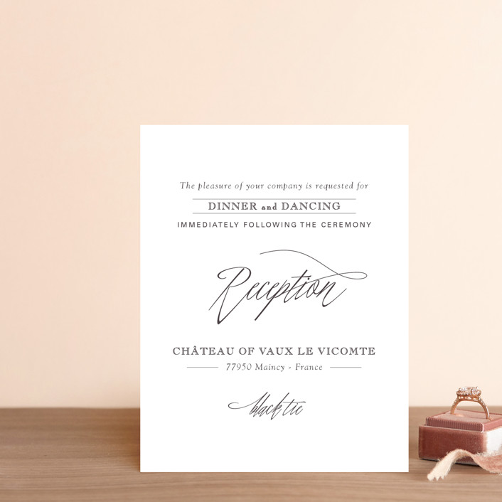 """""""Opulence"""" - Formal, Elegant Reception Cards in Snow Caps by Design Lotus."""