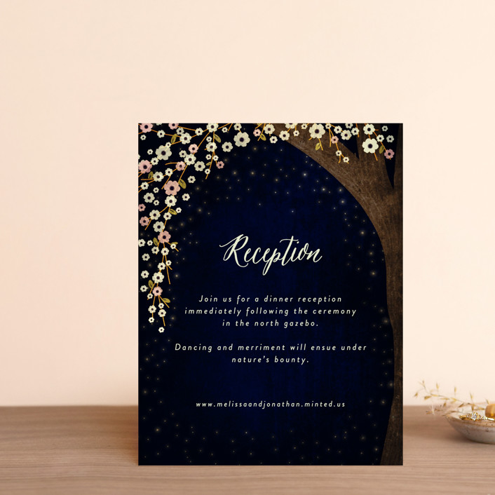 """Outside"" - Rustic Reception Cards in Navy by Rebecca Bowen."