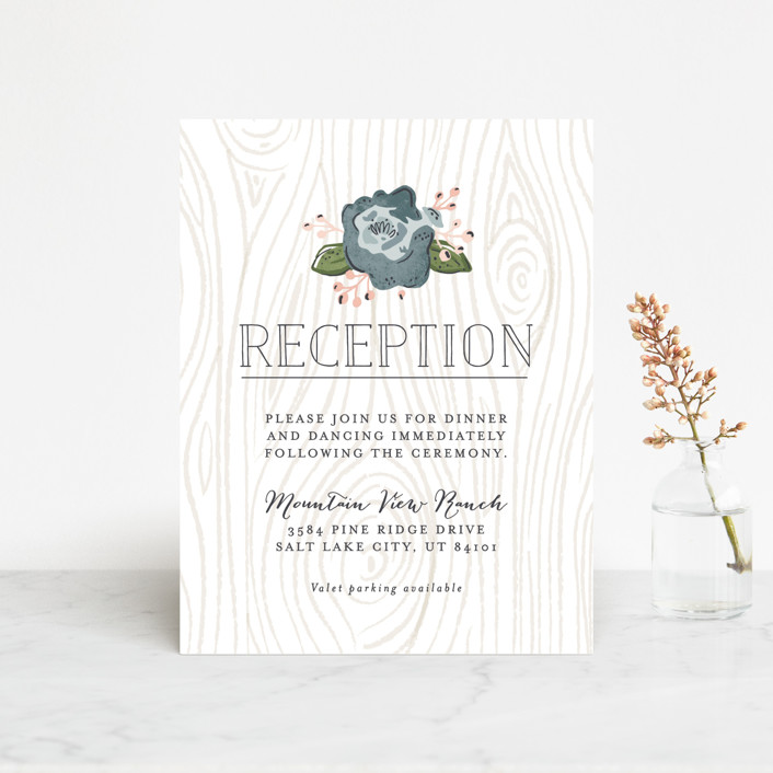 """Rustic Wooded Romance"" - Rustic Reception Cards in Bluebell by Pistols."