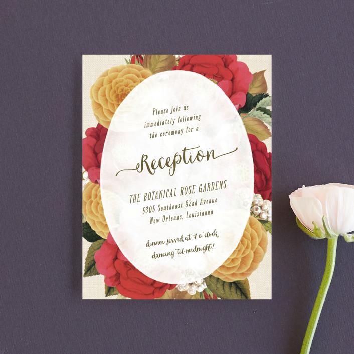 """Vintage Botanicals"" - Vintage, Floral & Botanical Reception Cards in Soft Peach by Hooray Creative."