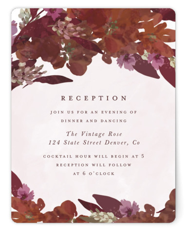 This is a botanical, painterly, red Reception Cards by Grace Kreinbrink called Foliage wreath with Standard printing on Signature in Card Flat Card format. Hand painted/drawn, botanical wedding invitation featuring a soft wreath of mixed foliage.