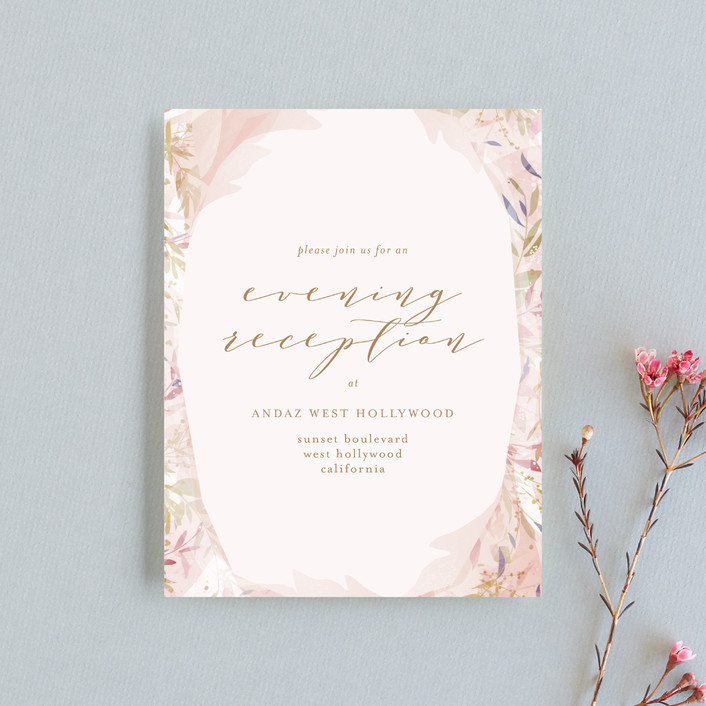 """Fantasy Floral Bride"" - Rustic Reception Cards in Blush by Phrosne Ras."