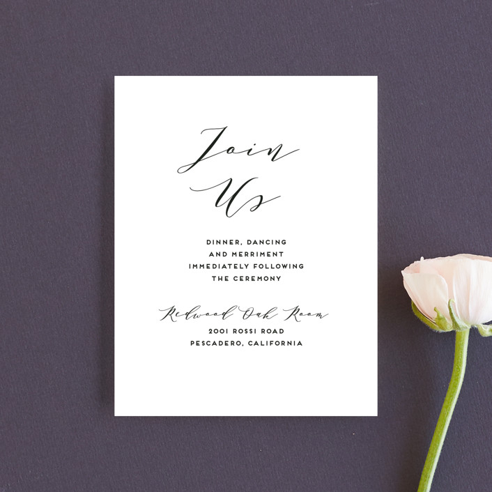 """Elegant Monogram"" - Reception Cards in Tuxedo by Simona Camp."