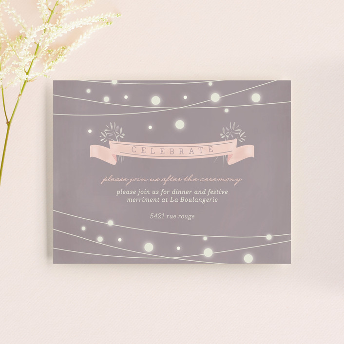 """""""Paris Lights"""" - Rustic, Bohemian Reception Cards in Violet by Lori Wemple."""