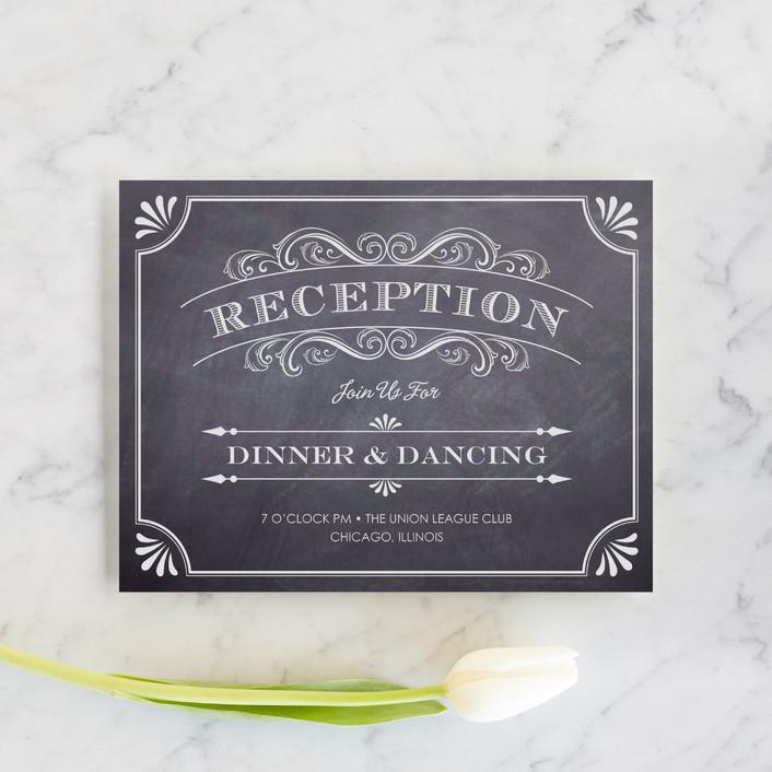 """""""A Chalkboard Marriage"""" - Vintage Reception Cards in Chalkboard by Erin Deegan."""