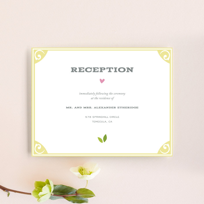 """""""Going to the Chapel"""" - Rustic, Whimsical & Funny Reception Cards in Spring by Griffinbell Paper Co.."""