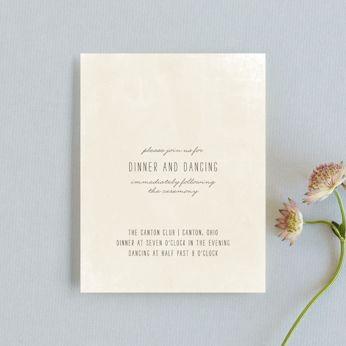 """""""Moment in Time"""" - Vintage Reception Cards in Linen by The Social Type."""