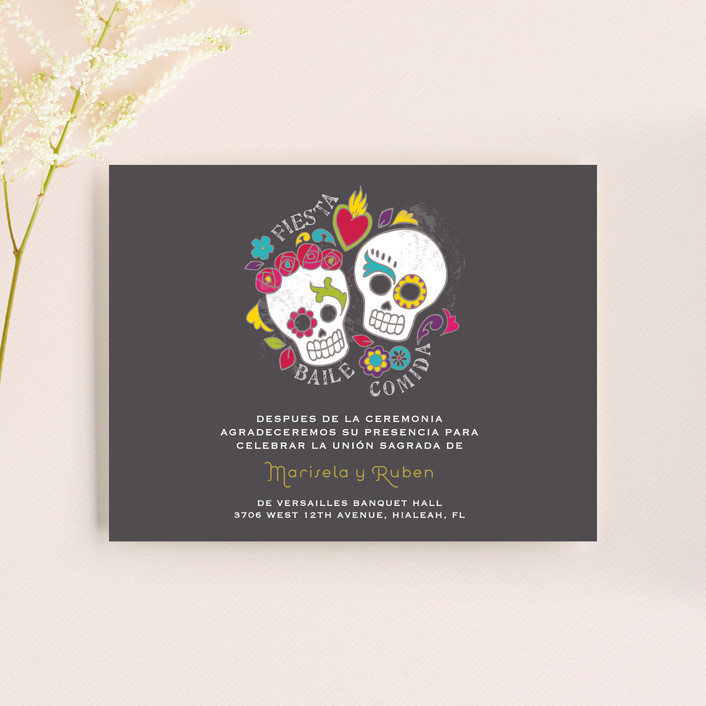 """Dia de los Muertos"" - Whimsical & Funny Reception Cards in Slate by Inky Livie."