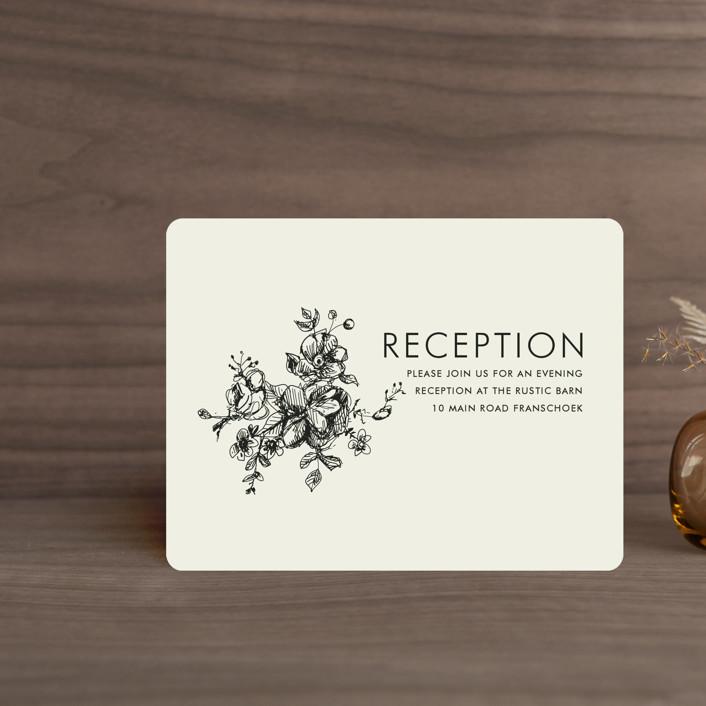"""Elegance Illustrated"" - Reception Cards in Beige by Phrosne Ras."