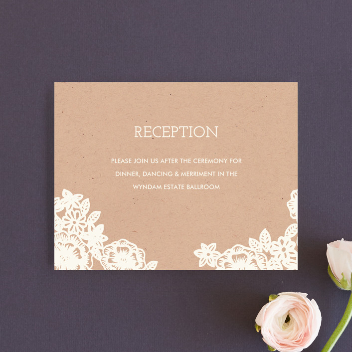 """""""Lace and Kraft"""" - Vintage, Floral & Botanical Reception Cards in Kraft by Katharine Watson."""