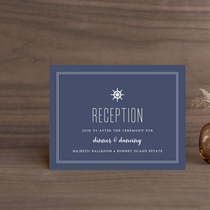"""Down by the Sea"" - Preppy Reception Cards in Marine by Sandra Picco Design."
