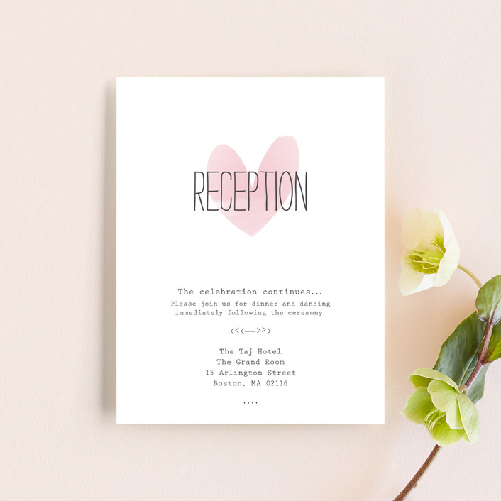 """Typewritten Heart"" - Simple, Modern Reception Cards in Blush by Robin Ott."
